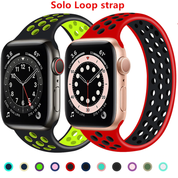 Solo Loop strap For Apple Watch Band 44mm 40mm 38mm 42mm Breathable silicone Elastic Belt bracelet band iWatch Series 3 4 5 SE 6