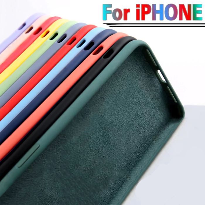 For iPhone 7 6 6S 8 Plus Case Luxury Original Liquid Silicone Soft Cover For iPhone 11 12 Pro X XR XS Max Shockproof Phone Case