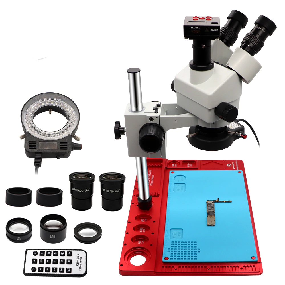 3.5-90X Continuous Zoom Simul Focal Trinocular Stereo Microscope 21MP HDMI Camera for Phone Soldering Repair Tools Set