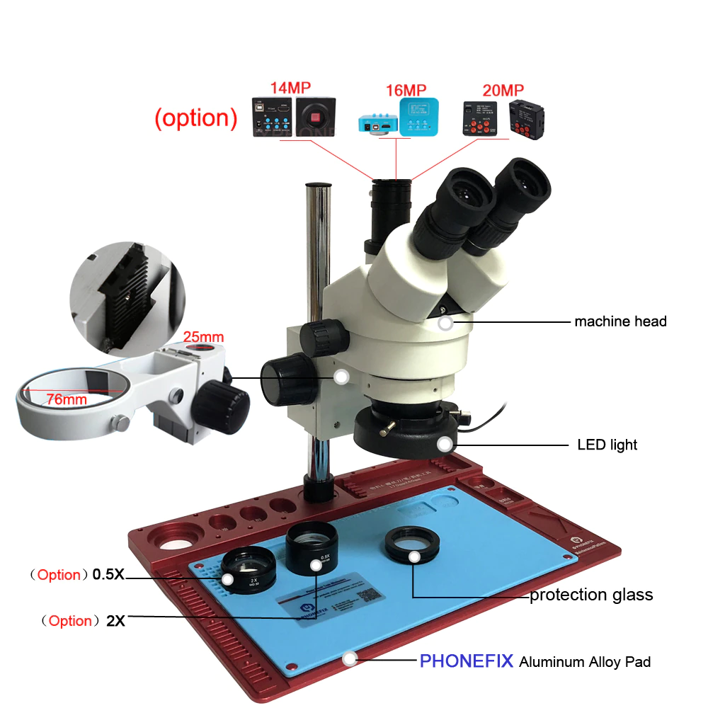 3.5-90X Continuous Zoom Simul Focal Trinocular Stereo Microscope 21MP HDMI Camera for Phone Soldering Repair Tools Set 2