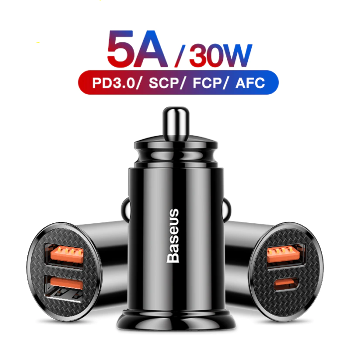 Car Charger 30W  QC 4.0 QC 3.0 For Xiaomi Huawei Supercharge SCP Samsung AFC PD Fast Charging For IP USB C Phone Charger