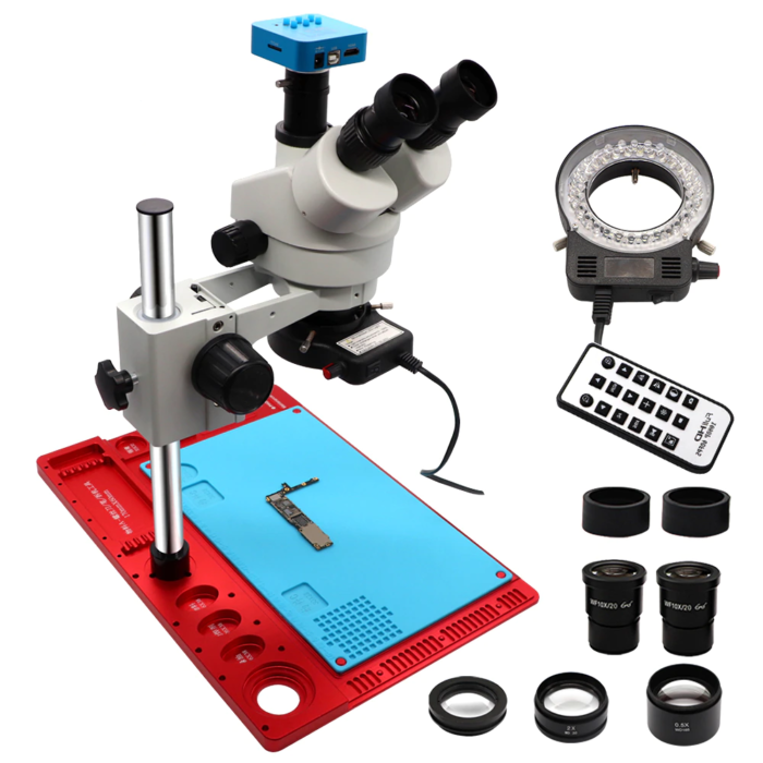3.5-90X Continuous Zoom Simul Focal Trinocular Stereo Microscope 21MP HDMI Camera for Phone Soldering Repair Tools Set 5