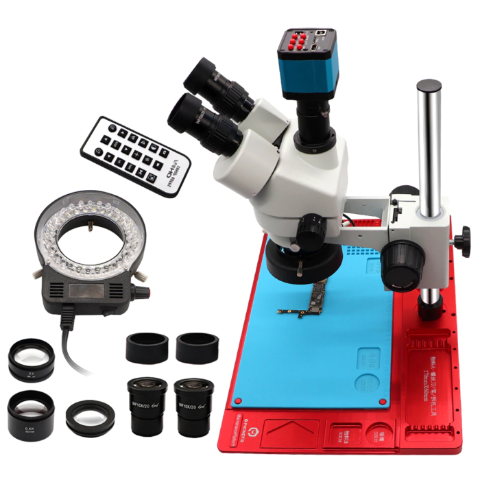 3.5-90X Continuous Zoom Simul Focal Trinocular Stereo Microscope 21MP HDMI Camera for Phone Soldering Repair Tools Set 6