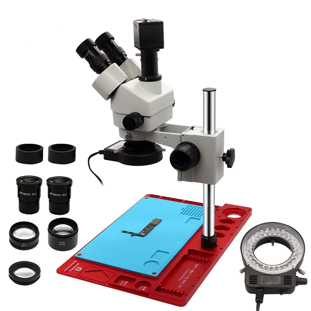 3.5-90X Continuous Zoom Simul Focal Trinocular Stereo Microscope 21MP HDMI Camera for Phone Soldering Repair Tools Set 3